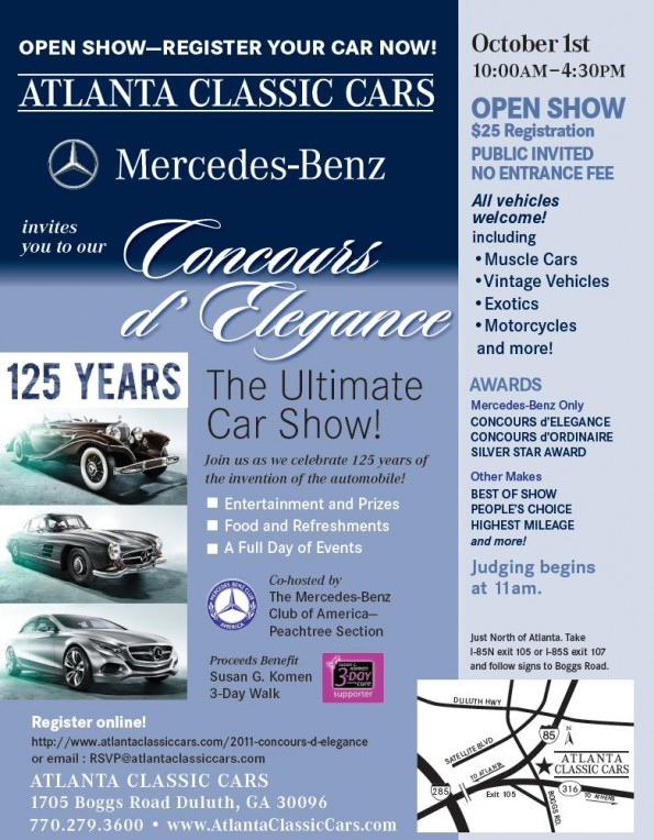 Flier for the October 1 Car Show at Atlanta Classic Cars